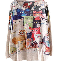 Cat Family Print Sweatshirt