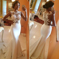 Hot Sale Sleeveless Lace See Through Mosaic Sexy Ball Gown One Piece Dress [4918231940]