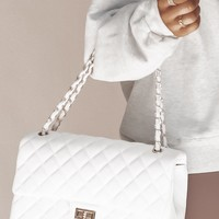 Snow Queen White Quilted Leather Purse