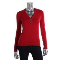 Charter Club Womens Petites Knit V-Neck Pullover Sweater