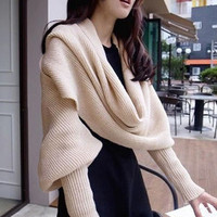Khaki Knitted Scarf with Sleeves