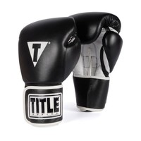 Title Boxing TVVTG BKWH-16oz Pro Style Leather Training Boxing Gloves