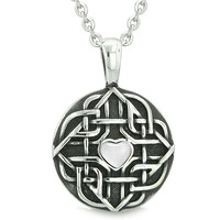 Amulet Celtic Shield Knot Magic Heart and Protection Powers White Cats Eye Pendant 18 Inch Necklace