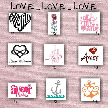 "LOVE designs - Painted/Decorated Canvases - 12"" x 12"" - you pick colors"
