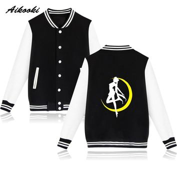 Fashion Sailor Moon Baseball Jacket Women Capless Sweatshirt Fashion Anime Winter Hoodies Women Jacket Clothes cotton Coat
