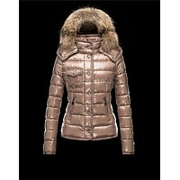 Moncler Armoise Detachable Fur Trimmed Light brown Jackets Lacquered Nylon Womens 4122
