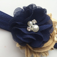 Navy Blue and Gold Flower Headband for Easter - Headband for Spring -Navy Blue Head Band - Spring Headband Photo Prop - Baby Girl Headband