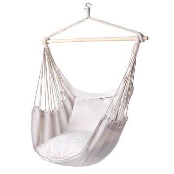Y- STOP Hammock Chair Hanging Rope Swing-Max 320 Lbs-2 Seat Cushions Included-Quality Cotton Weave for Superior Comfort & Durability (Beige) Beige