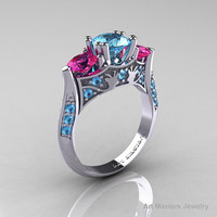 Nature Inspired 14K White Gold Three Stone Blue by artmasters