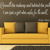 Wall Decals Quotes Vinyl Sticker Decal Quote Marilyn Monroe Beneath the makeup and behind the smile Phrase Home Decor Bedroom Art Design Interior C126