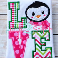 Christmas Shirt One of a Kind Custom Embroidered Holiday Cheer Polar Penguins Toddler Shirt or Infant One Piece Bodysuit Girl or Boy