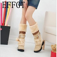 EFFGT 2017 NEW Winter Warm martin boots Thickened Fur High Heel Boots Women Shoes Fashion Sexy Long snow boots size 35-43 Y115