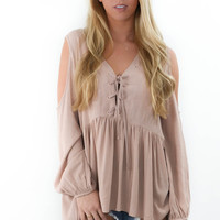 Just Because Mocha Long Sleeve Cold Shoulder Tunic