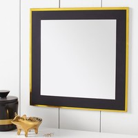 Paper Border Mirror, Black With Gold Trim