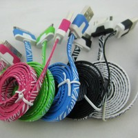 lot of 5pcs 3ft Lovely cool Zebra leopard Style Noodle Flat Data Sync Usb Charger Cable Cords accessories for Iphone 4 4s Ipad 2 3 Ipod Touch 4 Nano 6 black/white/blue/green/hotpink:Amazon:Cell Phones & Accessories