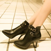 Womens Edgy Ankle Strap Bootie Heels