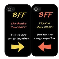 """BFF Quote """"She's Crazy"""" Arrow Best Friends Set i4 iPhone 4 4s Hard Case"""