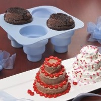 4 CAVITY 3 TIERED SILICONE CAKE MOLD - MAKES 4 MINI 3 TIERED CAKES AT THE SAME TIME!
