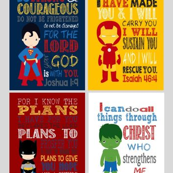 Superhero Christian Nursery Decor Art Print Set of 4 -Batman, Ironman, Superman and Hulk