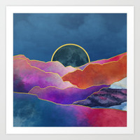 Rainbow mountains & gold Art Print by marcogonzalez
