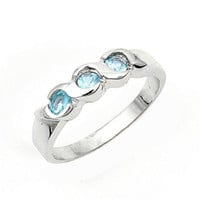 Sterling Silver Aquamarine Blue CZ Three Stone Ring Size 1 2