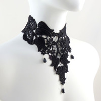 Romantic Black Bib - Lace Choker Necklace - Beads and Flowers - Boudoir photo prop, Victorian, Ball, Gothic Jewelry