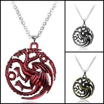Movie Jewelry Game Of Thrones Daenerys Targaryen Blood and fire round red dragon pendant necklace Can Drop shipping