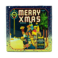 Handmade Coaster Merry Christmas 3 Kings Brand - Vintage Citrus Crate Label - Handmade Recycled Tile Coaster