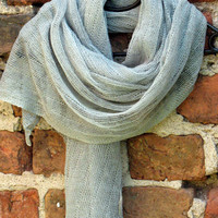 Linen Scarf Shawl Wrap Stole Gray Green Lichen Light Transparent SALE