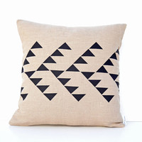 Beige linen pillow cover with geometric design in by PALEOLOCHIC