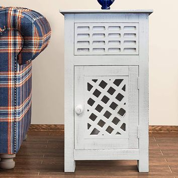 Single Drawer Wooden Side Accent Table with Door Cabinet, Antique White By The Urban Port
