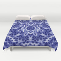 Blue and White Glowing Kaleidoscope Mandala Duvet Cover by Tigerlynx