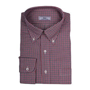 Mini Check Button Down in Red and White by Country Club Prep