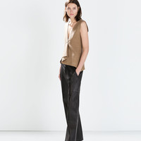 Studio wide leather trousers