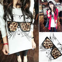 US Size S-XXL Womens Casual Lovely Leopard Cat Wear Glasses Crewneck Long Sleeve T-shirt Blouse Tops Shirt = 1930050692