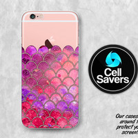 Mermaid Scales Clear iPhone 6s Case iPhone 6 Case iPhone 6 Plus Case iPhone 6s Plus iPhone 5c Case iPhone 5 Clear Case Reds Cute Scale Girly