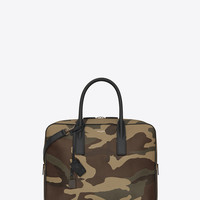 SAINT LAURENT CLASSIC SMALL MUSEUM BRIEFCASE IN CAMOUFLAGE GRAIN DE POUDRE TEXTURED LEATHER AND BLACK LEATHER | YSL.COM