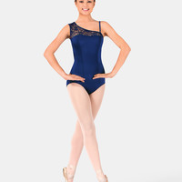 Free Shipping - Asymmetrical Cap Sleeve Lace Leotard by BODY WRAPPERS