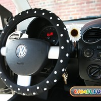 Black White Dot Silicone Ionized Car Steering Wheel Cover