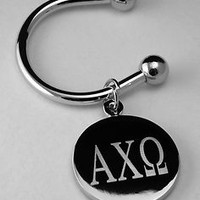 Alpha Chi Omega Greek Letter Disk Key Ring  Silver Plate Non Tarnish ΑΧΩ