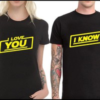 I KNOW I LOVE YOU black matching T-shirt yellow letter printed couple t shirt woman men fashion tumblr shirt graphic Tees top