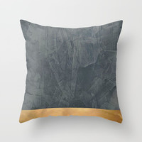 Slate Gray Stucco w Shiny Copper Metallic Trim - Faux Finishes - Rustic Glam Throw Pillow by Corbin Henry