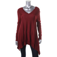 Vertical Design Womens Knit V-Neck Tunic Sweater