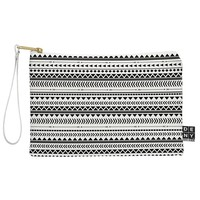 Allyson Johnson Black And White Aztec Pattern Pouch
