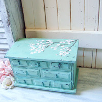 Teal Vintage Jewelry Box with Cherry Blossom Art, Aqua Wooden Jewelry Chest, Rustic Vintage Jewelry Holder, Gift Ideas, Shabby Chic