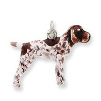 Enameled German Shorthaired Pointer Charm in Sterling Silver