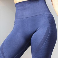 Women Yoga Pants High Elastic Sports Seamless Sport Leggings Tights Sportswear Fitness Compression Solid Slim Running Clothes
