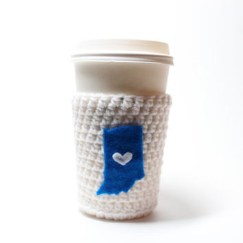 Beer Koozie, Crochet Indiana State Accessories, Can Cozy, Coffee Cozy, Indianapolis Colts Inspired Sports Bottle Koozie, Drink Holder