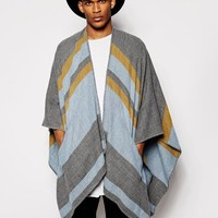 ASOS | ASOS Striped Cape With Pockets In Blue at ASOS