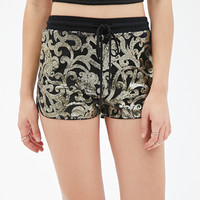 Sequined Ornate-Pattern Shorts
